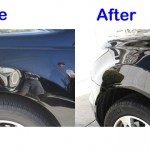 black car dent before and after