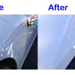 white car dent before and after