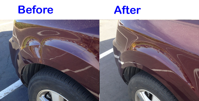 Red Car Dent before and after